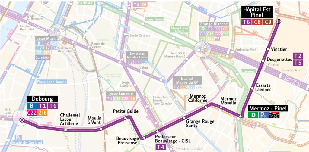 Le tracé de la ligne T6 du tramway entre Debourg et Hôpitaux Est