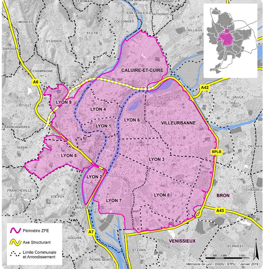 La ZFE comprend Lyon, une grande partie de Villeurbanne et certains secteurs de Bron, Vénissieux et Caluire et Cuire.