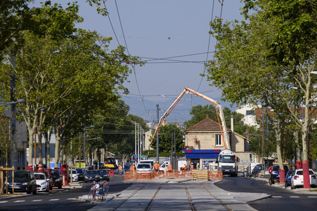 les travaux du tram t6 à Lyon