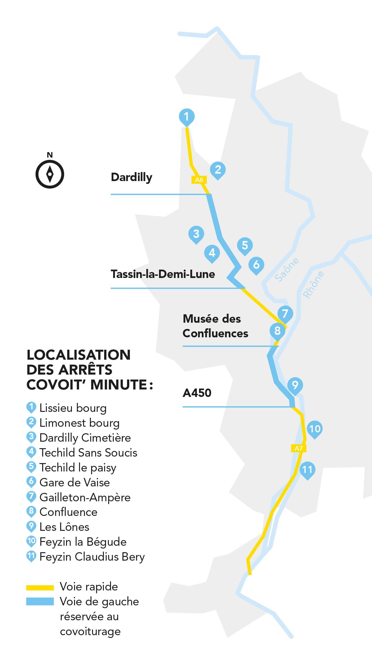 Carte des arrêts covoit' minute dans la Métropole de Lyon